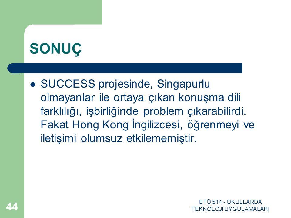 BTÖ 514 - OKULLARDA TEKNOLOJİ UYGULAMALARI 44 SONUÇ SUCCESS projesinde, Singapurlu olmayanlar ile ortaya çıkan konuşma dili farklılığı, işbirliğinde p