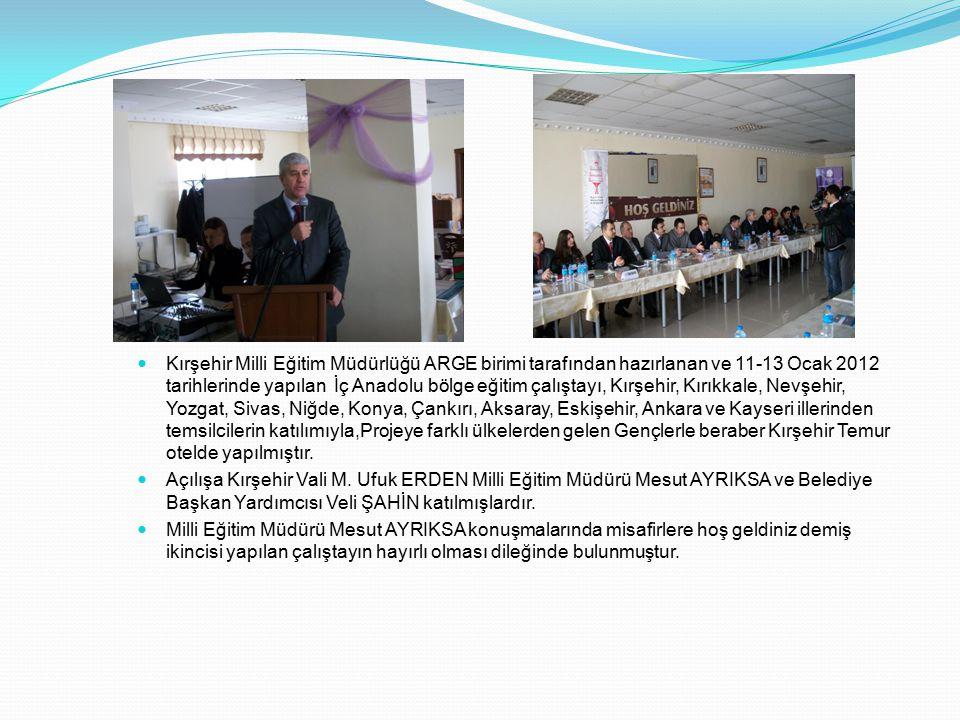 Kırşehir Milli Eğitim Müdürlüğü ARGE birimi tarafından hazırlanan ve 11-13 Ocak 2012 tarihlerinde yapılan İç Anadolu bölge eğitim çalıştayı, Kırşehir,
