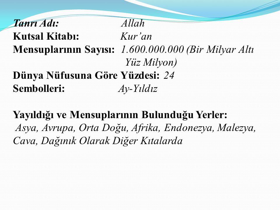 Tanrı Adı: Allah Kutsal Kitabı: Kur'an Mensuplarının Sayısı: 1.600.000.000 (Bir Milyar Altı Yüz Milyon) Dünya Nüfusuna Göre Yüzdesi: 24 Sembolleri: Ay