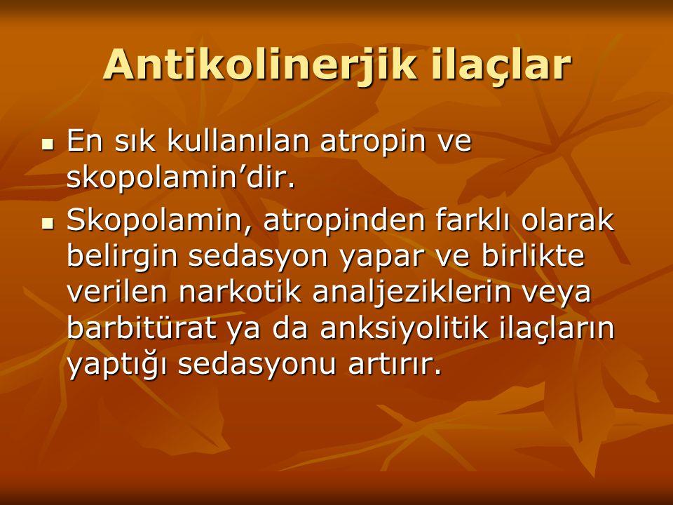 Antikolinerjik ilaçlar En sık kullanılan atropin ve skopolamin'dir. En sık kullanılan atropin ve skopolamin'dir. Skopolamin, atropinden farklı olarak