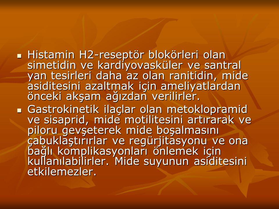 Histamin H2-reseptör blokörleri olan simetidin ve kardiyovasküler ve santral yan tesirleri daha az olan ranitidin, mide asiditesini azaltmak için amel