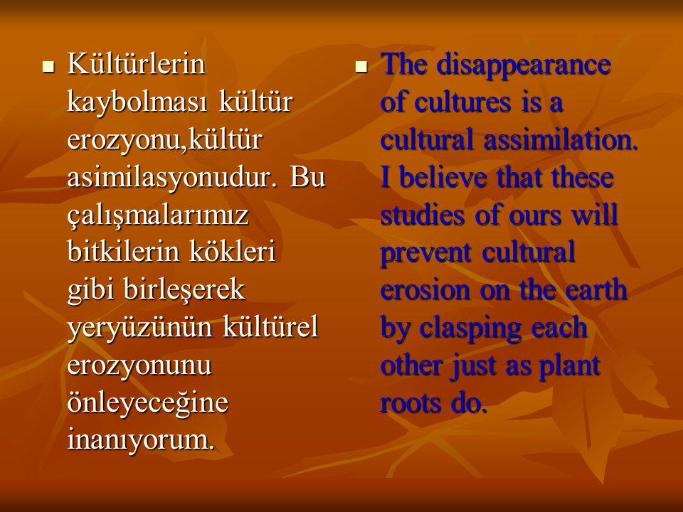 Kültürlerin kaybolması kültür erozyonu,kültür asimilasyonudur.
