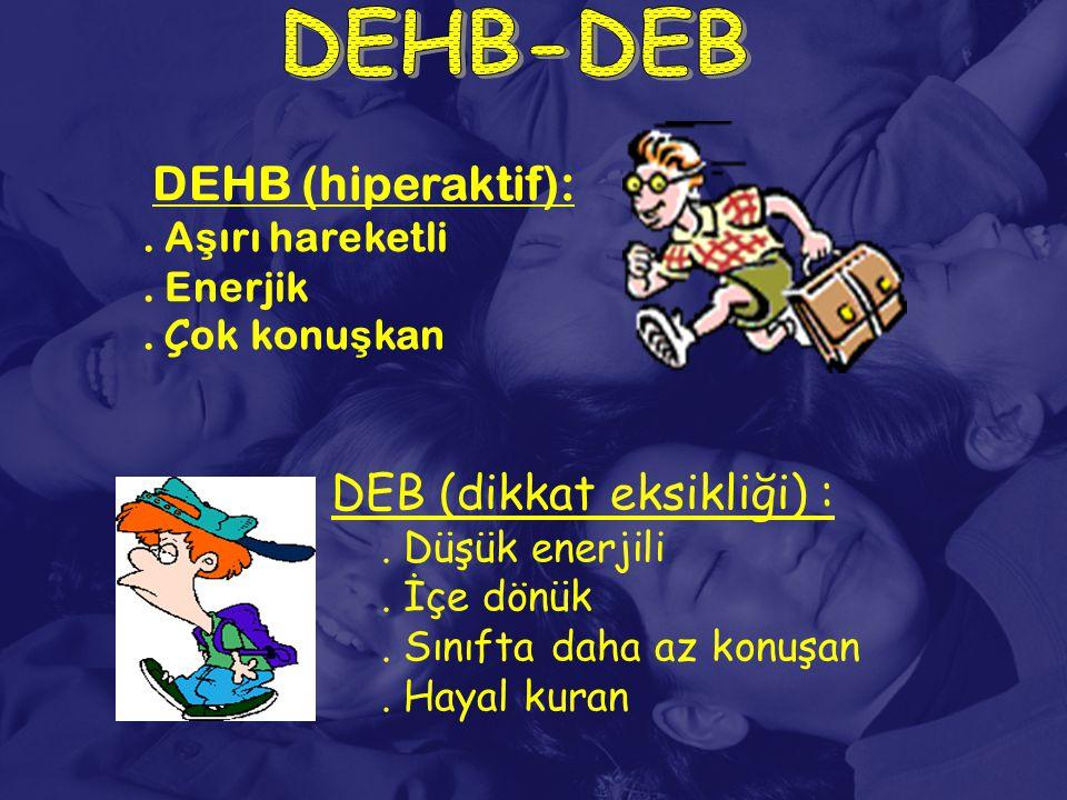 DEHB (hiperaktif):. A ş ırı hareketli. Enerjik. Ç ok konu ş kan DEB (dikkat eksikliği) :. Düşük enerjili. İçe dönük. Sınıfta daha az konuşan. Hayal ku