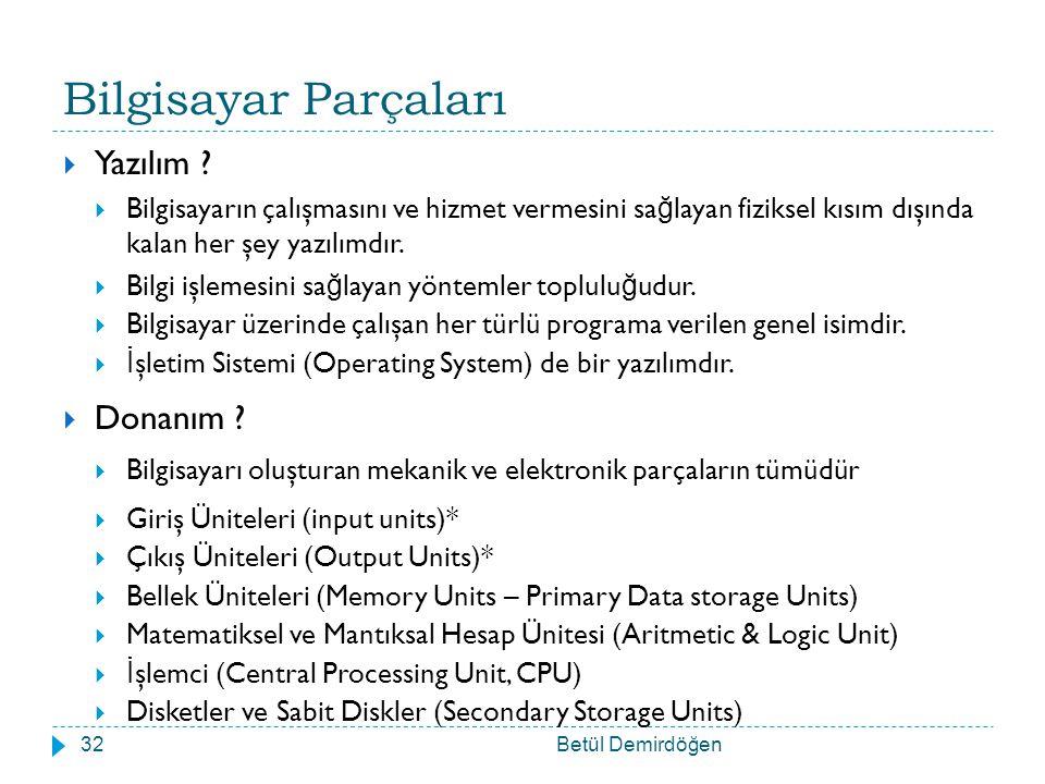 Bilgisayar Parçaları Betül Demirdöğen32  Yazılım .