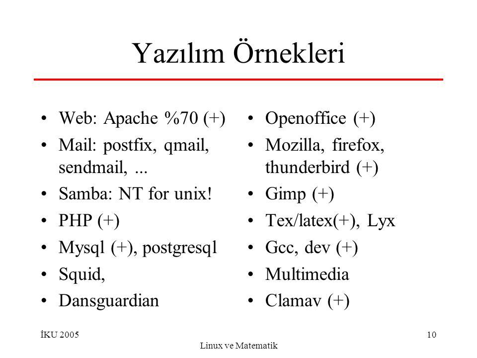 İKU 2005 Linux ve Matematik 10 Yazılım Örnekleri Web: Apache %70 (+) Mail: postfix, qmail, sendmail,... Samba: NT for unix! PHP (+) Mysql (+), postgre