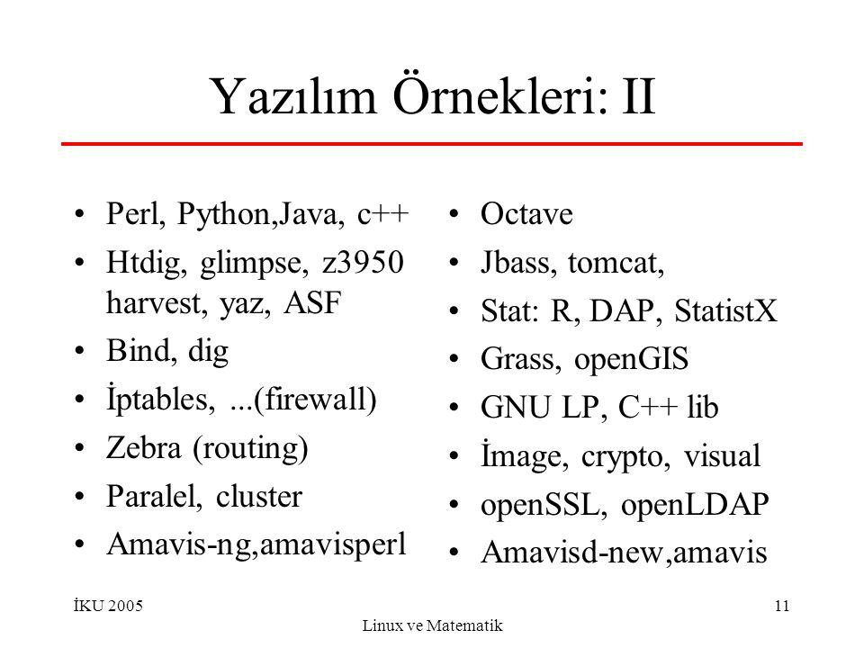 İKU 2005 Linux ve Matematik 11 Yazılım Örnekleri: II Perl, Python,Java, c++ Htdig, glimpse, z3950 harvest, yaz, ASF Bind, dig İptables,...(firewall) Zebra (routing) Paralel, cluster Amavis-ng,amavisperl Octave Jbass, tomcat, Stat: R, DAP, StatistX Grass, openGIS GNU LP, C++ lib İmage, crypto, visual openSSL, openLDAP Amavisd-new,amavis