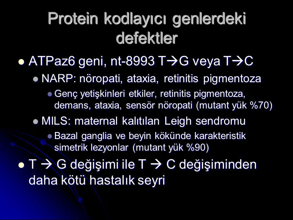 Protein kodlayıcı genlerdeki defektler ATPaz6 geni, nt-8993 T  G veya T  C ATPaz6 geni, nt-8993 T  G veya T  C NARP: nöropati, ataxia, retinitis p