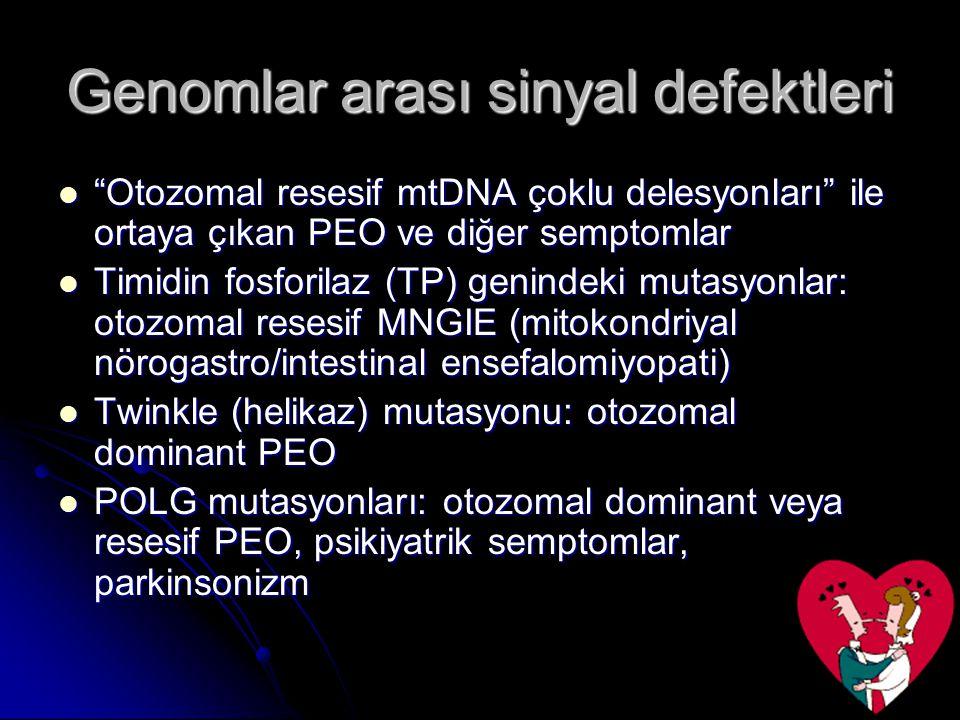 """Genomlar arası sinyal defektleri """"Otozomal resesif mtDNA çoklu delesyonları"""" ile ortaya çıkan PEO ve diğer semptomlar """"Otozomal resesif mtDNA çoklu de"""
