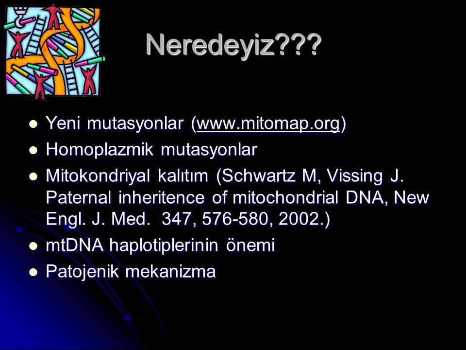 Neredeyiz??? Yeni mutasyonlar (www.mitomap.org) Yeni mutasyonlar (www.mitomap.org)www.mitomap.org Homoplazmik mutasyonlar Homoplazmik mutasyonlar Mito
