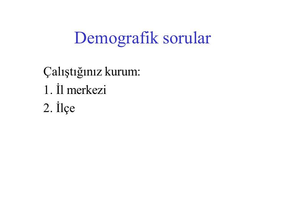 Demografik sorular Çalıştığınız kurum: 1. İl merkezi 2. İlçe
