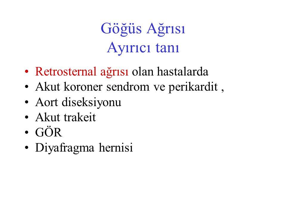 Göğüs Ağrısı Ayırıcı tanı Retrosternal ağrısı olan hastalarda Akut koroner sendrom ve perikardit, Aort diseksiyonu Akut trakeit GÖR Diyafragma hernisi