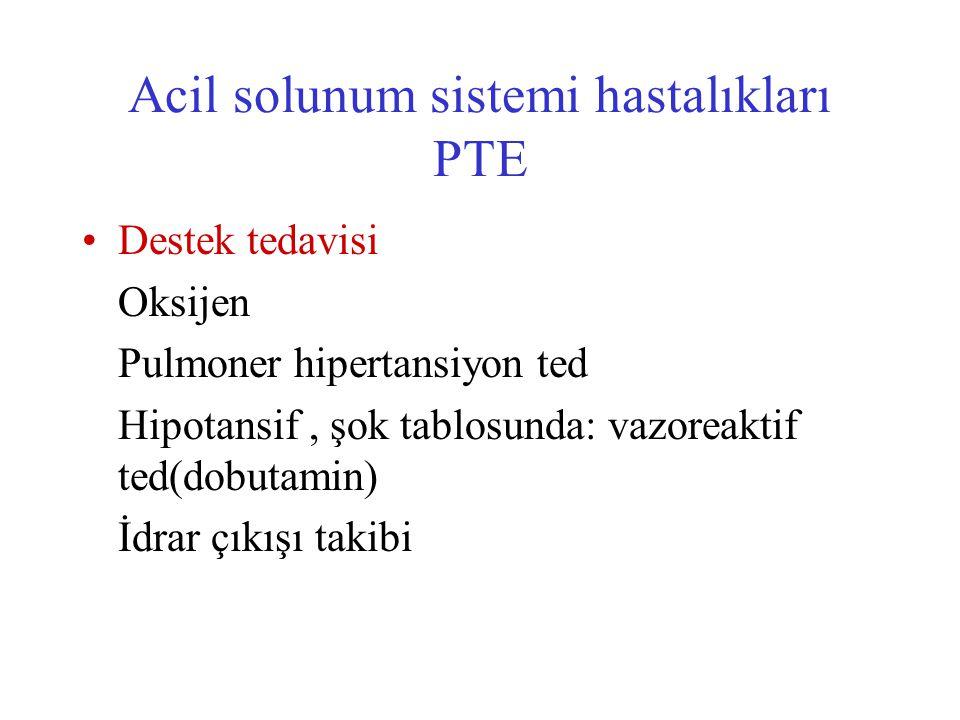 Destek tedavisi Oksijen Pulmoner hipertansiyon ted Hipotansif, şok tablosunda: vazoreaktif ted(dobutamin) İdrar çıkışı takibi