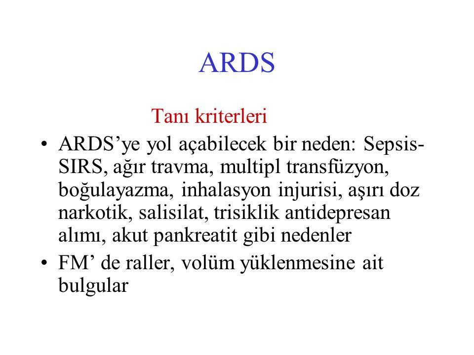 ARDS Tanı kriterleri ARDS'ye yol açabilecek bir neden: Sepsis- SIRS, ağır travma, multipl transfüzyon, boğulayazma, inhalasyon injurisi, aşırı doz narkotik, salisilat, trisiklik antidepresan alımı, akut pankreatit gibi nedenler FM' de raller, volüm yüklenmesine ait bulgular