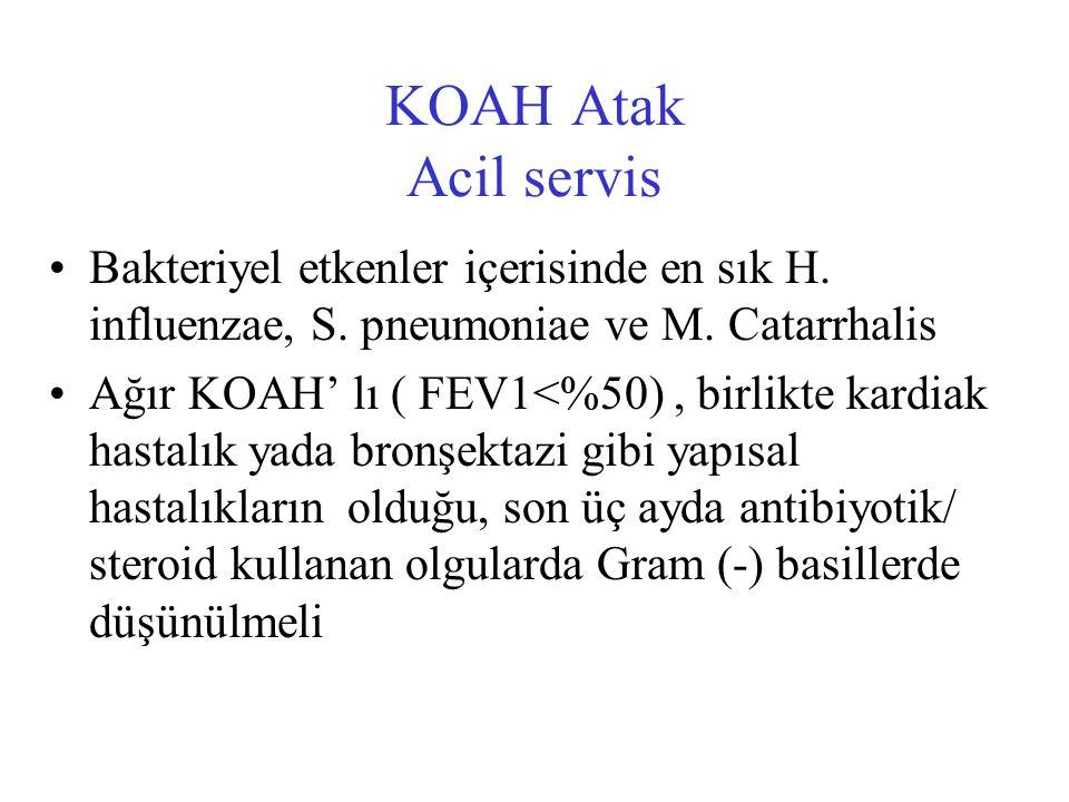 KOAH Atak Acil servis Bakteriyel etkenler içerisinde en sık H.