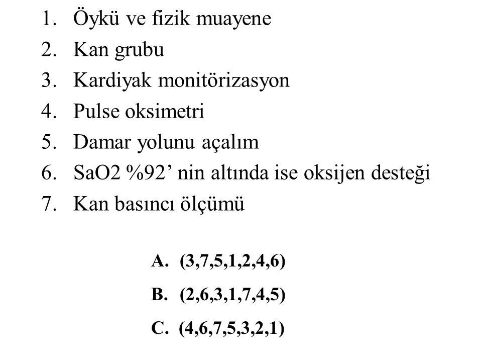 1.Öykü ve fizik muayene 2.Kan grubu 3.Kardiyak monitörizasyon 4.Pulse oksimetri 5.Damar yolunu açalım 6.SaO2 %92' nin altında ise oksijen desteği 7.Kan basıncı ölçümü A.