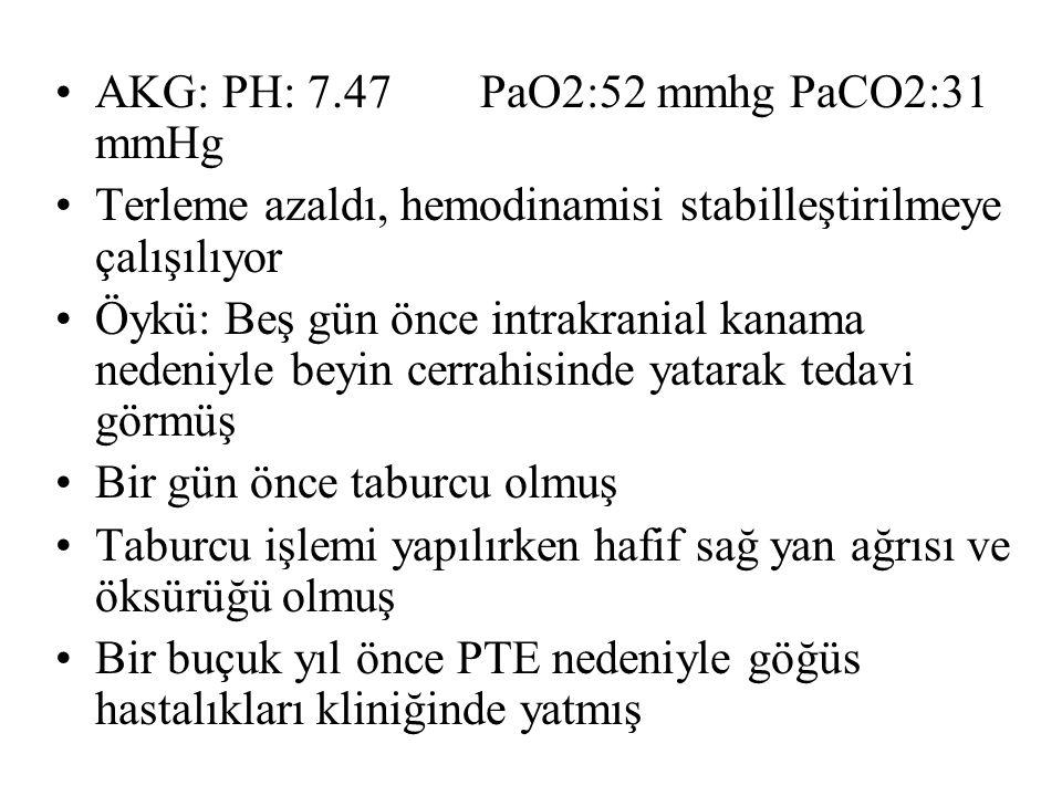 AKG: PH: 7.47PaO2:52 mmhg PaCO2:31 mmHg Terleme azaldı, hemodinamisi stabilleştirilmeye çalışılıyor Öykü: Beş gün önce intrakranial kanama nedeniyle beyin cerrahisinde yatarak tedavi görmüş Bir gün önce taburcu olmuş Taburcu işlemi yapılırken hafif sağ yan ağrısı ve öksürüğü olmuş Bir buçuk yıl önce PTE nedeniyle göğüs hastalıkları kliniğinde yatmış