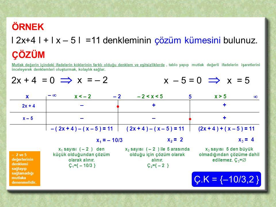 + –– ÖRNEK l 2x+4 l + l x – 5 l =11 denkleminin çözüm kümesini bulunuz.