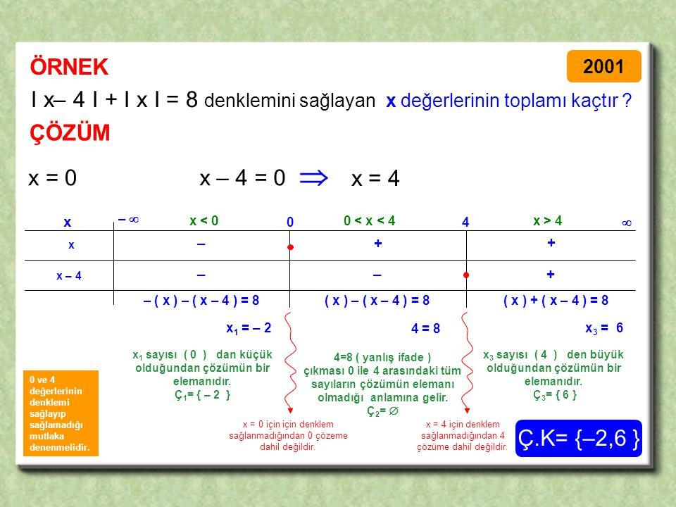 ÖRNEK ÇÖZÜM I x– 4 I + I x I = 8 denklemini sağlayan x değerlerinin toplamı kaçtır .