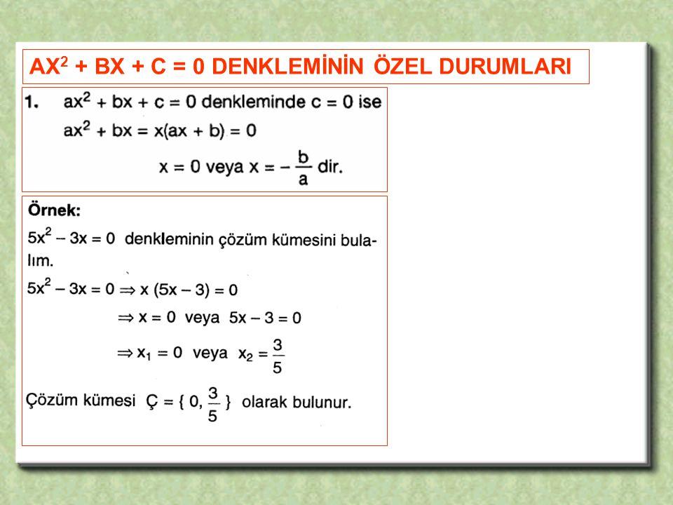 AX 2 + BX + C = 0 DENKLEMİNİN ÖZEL DURUMLARI