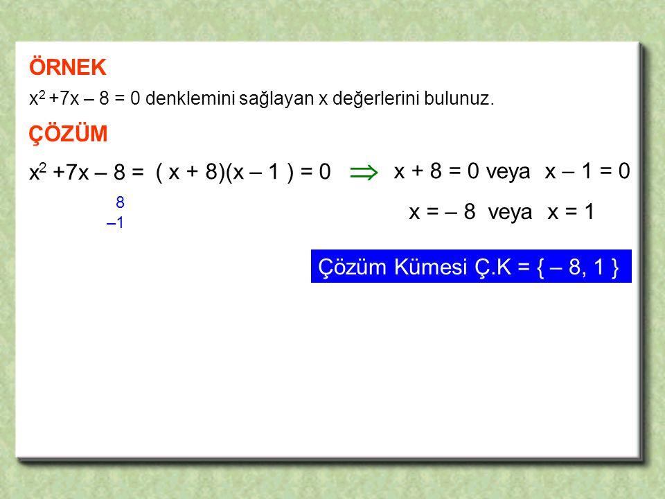 ÖRNEK x 2 +7x – 8 = 0 denklemini sağlayan x değerlerini bulunuz.