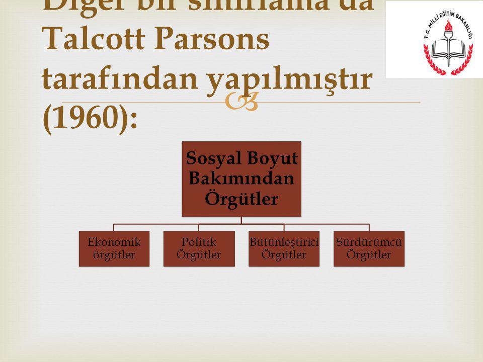  Sosyal Boyut Bakımından Örgütler Ekonomik örgütler Politik Örgütler Bütünleştirici Örgütler Sürdürümcü Örgütler Diğer bir sınıflama da Talcott Parso