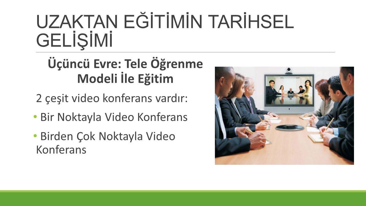 UZAKTAN EĞİTİMİN TARİHSEL GELİŞİMİ Üçüncü Evre: Tele Öğrenme Modeli İle Eğitim 2 çeşit video konferans vardır: Bir Noktayla Video Konferans Birden Çok