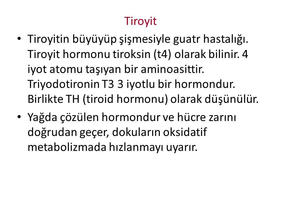 Tiroyit Tiroyitin büyüyüp şişmesiyle guatr hastalığı. Tiroyit hormonu tiroksin (t4) olarak bilinir. 4 iyot atomu taşıyan bir aminoasittir. Triyodotiro