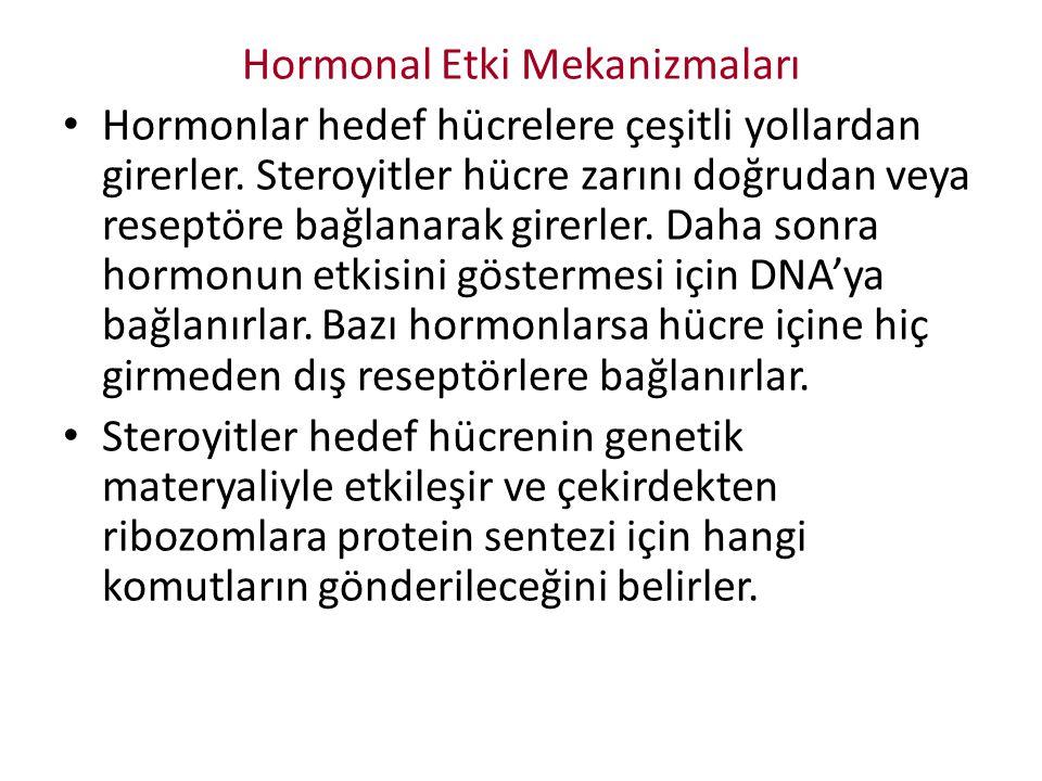 Hormonal Etki Mekanizmaları Hormonlar hedef hücrelere çeşitli yollardan girerler. Steroyitler hücre zarını doğrudan veya reseptöre bağlanarak girerler