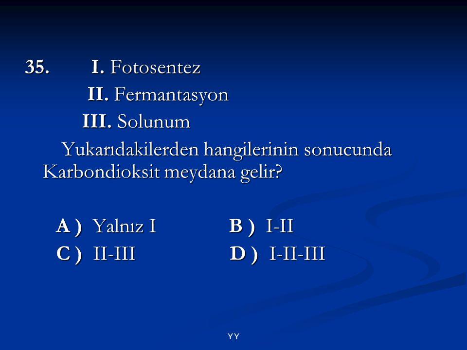Y.Y 35. I. Fotosentez II. Fermantasyon II. Fermantasyon III. Solunum III. Solunum Yukarıdakilerden hangilerinin sonucunda Karbondioksit meydana gelir?