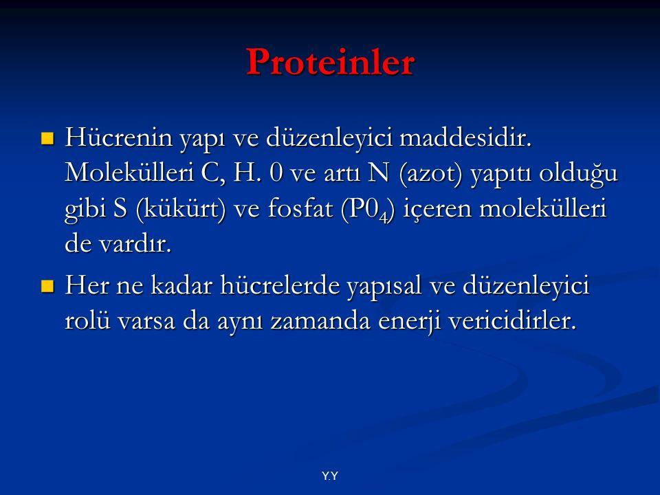 Y.Y Proteinler Hücrenin yapı ve düzenleyici maddesidir. Molekülleri C, H. 0 ve artı N (azot) yapıtı olduğu gibi S (kükürt) ve fosfat (P0 4 ) içeren mo