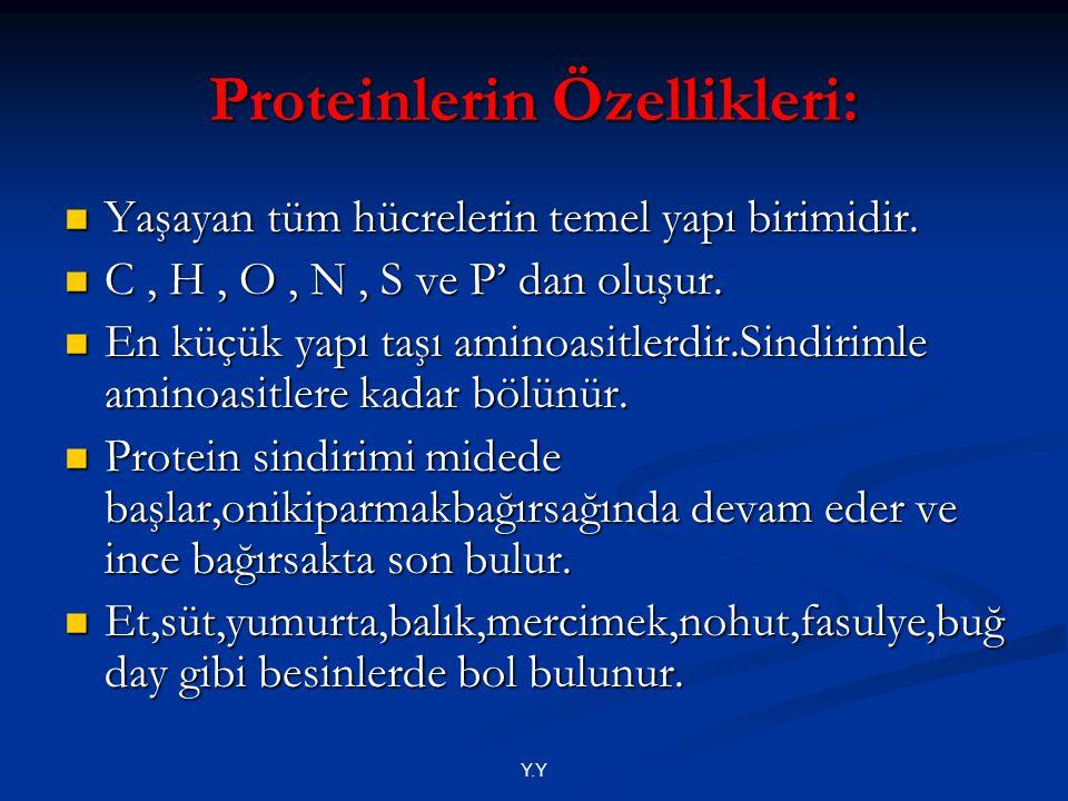 Y.Y Proteinlerin Özellikleri: Yaşayan tüm hücrelerin temel yapı birimidir. Yaşayan tüm hücrelerin temel yapı birimidir. C, H, O, N, S ve P' dan oluşur