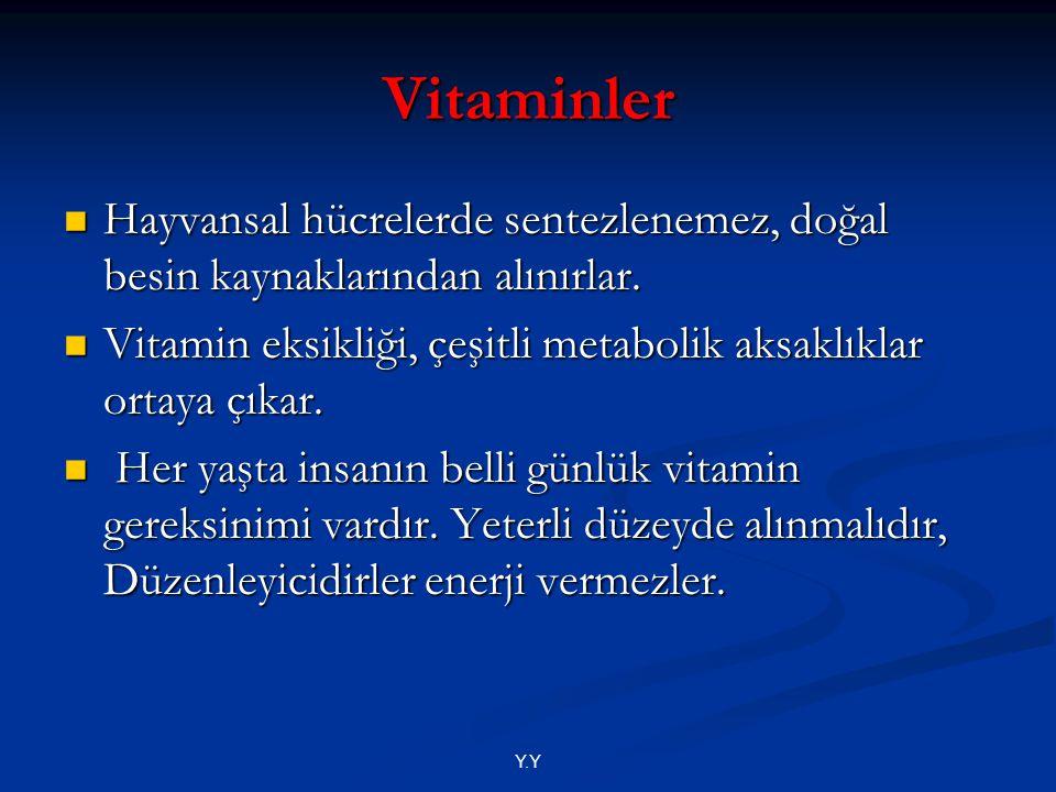 Y.Y Vitaminler Hayvansal hücrelerde sentezlenemez, doğal besin kaynaklarından alınırlar. Hayvansal hücrelerde sentezlenemez, doğal besin kaynaklarında