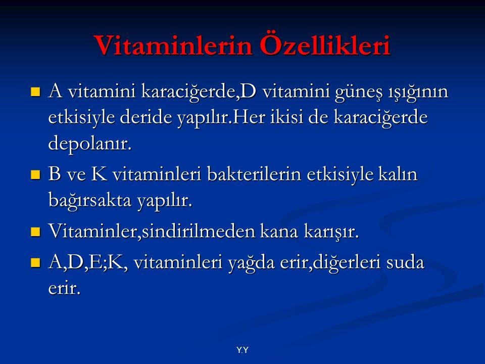 Y.Y A vitamini karaciğerde,D vitamini güneş ışığının etkisiyle deride yapılır.Her ikisi de karaciğerde depolanır. A vitamini karaciğerde,D vitamini gü