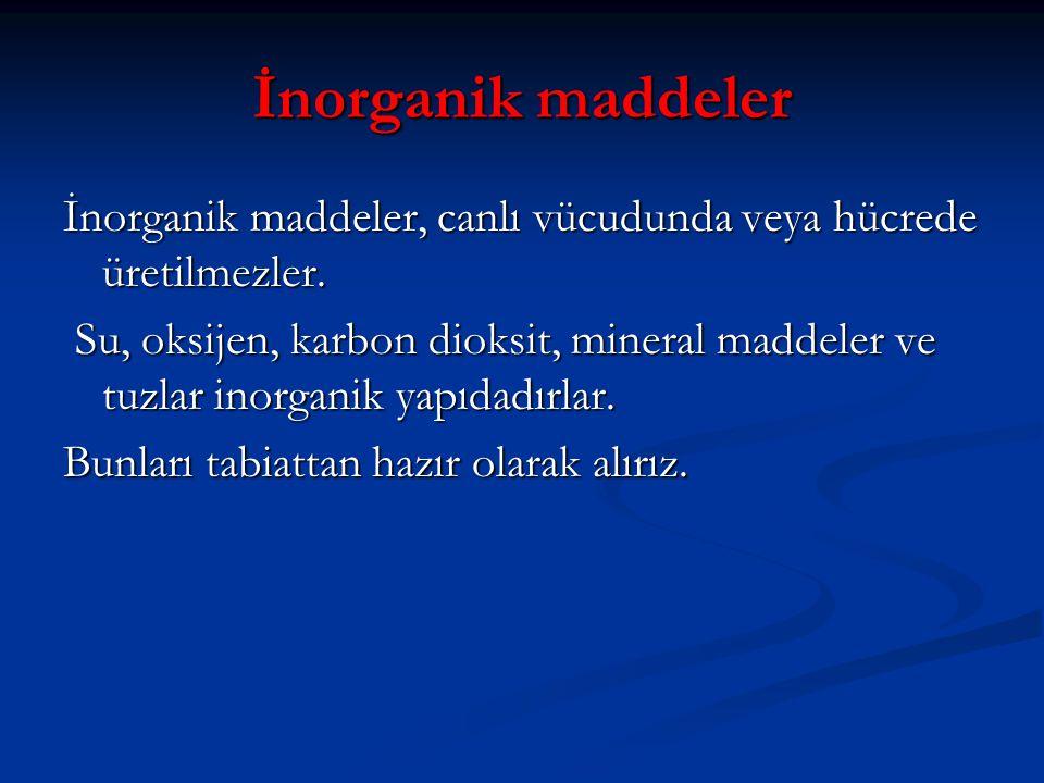İnorganik maddeler İnorganik maddeler, canlı vücudunda veya hücrede üretilmezler. Su, oksijen, karbon dioksit, mineral maddeler ve tuzlar inorganik ya