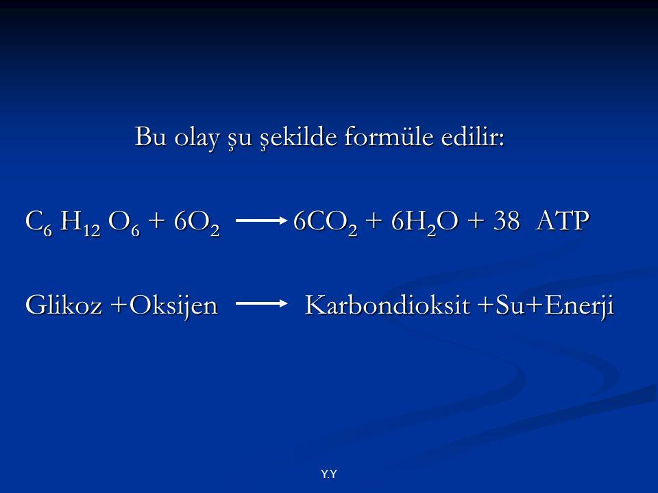 Y.Y Bu olay şu şekilde formüle edilir: Bu olay şu şekilde formüle edilir: C 6 H 12 O 6 + 6O 2 6CO 2 + 6H 2 O + 38 ATP Glikoz +Oksijen Karbondioksit +S