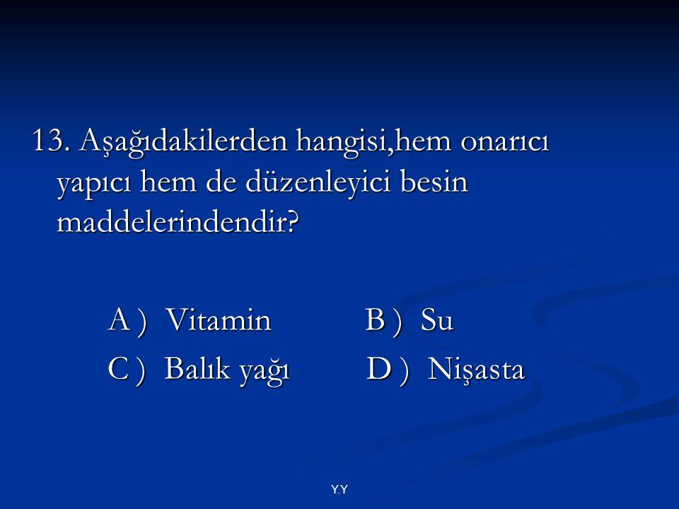 Y.Y 13. Aşağıdakilerden hangisi,hem onarıcı yapıcı hem de düzenleyici besin maddelerindendir? A ) Vitamin B ) Su A ) Vitamin B ) Su C ) Balık yağı D )