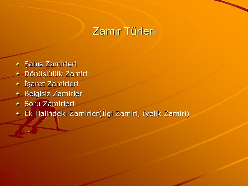 Zamir Türleri Şahıs Zamirleri Dönüşlülük Zamiri İşaret Zamirleri Belgisiz Zamirler Soru Zamirleri Ek Halindeki Zamirler(İlgi Zamiri, İyelik Zamiri)