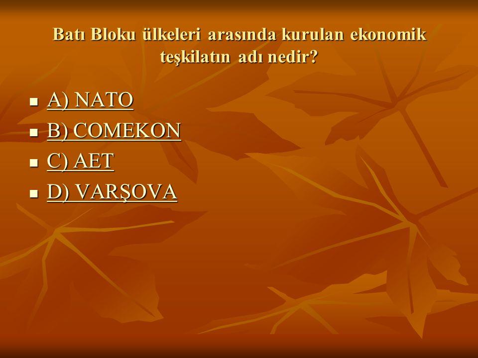 Batı Bloku ülkeleri arasında kurulan ekonomik teşkilatın adı nedir.