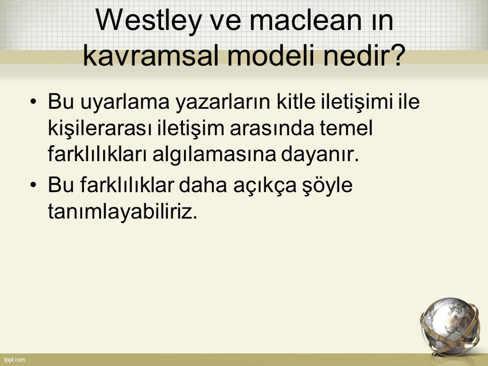 Westley ve maclean ın kavramsal modeli nedir? Bu uyarlama yazarların kitle iletişimi ile kişilerarası iletişim arasında temel farklılıkları algılaması