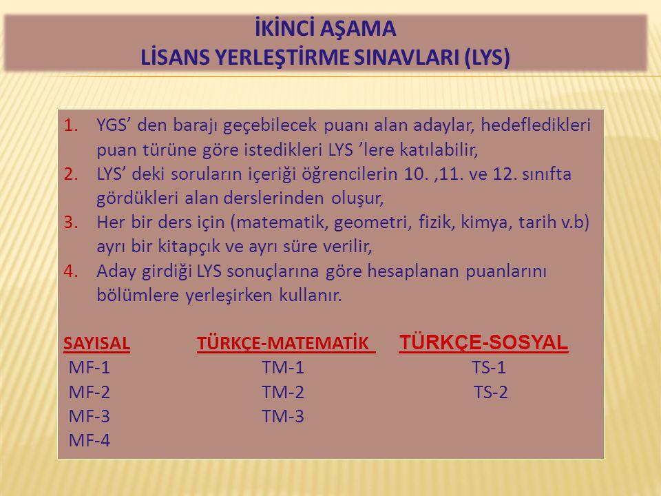 1.YGS' den barajı geçebilecek puanı alan adaylar, hedefledikleri puan türüne göre istedikleri LYS 'lere katılabilir, 2.LYS' deki soruların içeriği öğr