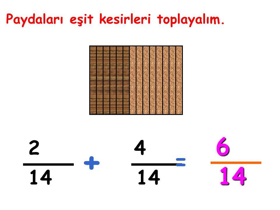 Paydaları eşit kesirleri toplayalım. 2 4 + = 6 14