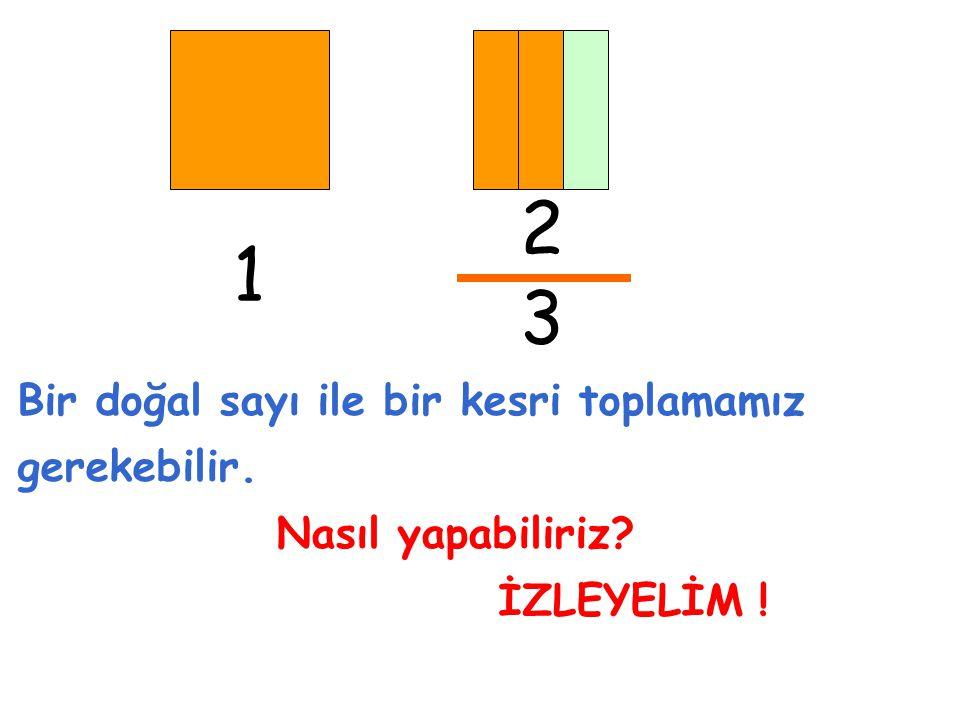 2 3 Bir doğal sayı ile bir kesri toplamamız gerekebilir. Nasıl yapabiliriz? İZLEYELİM ! 1