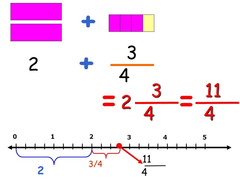 2 3 4 + + 2 3 4 = = 11 4 012 345 3/4 2 11 4