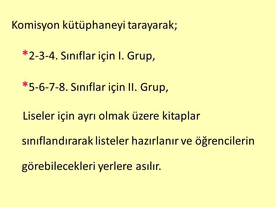 Komisyon kütüphaneyi tarayarak; * 2-3-4. Sınıflar için I. Grup, * 5-6-7-8. Sınıflar için II. Grup, Liseler için ayrı olmak üzere kitaplar sınıflandıra