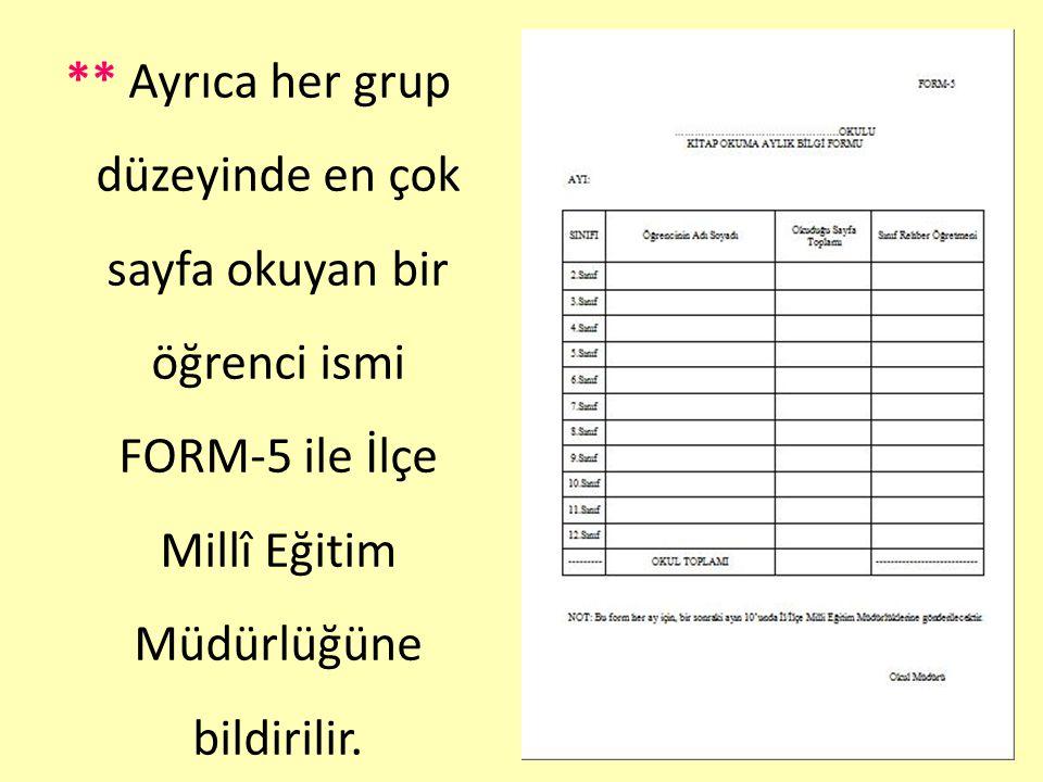 ** Ayrıca her grup düzeyinde en çok sayfa okuyan bir öğrenci ismi FORM-5 ile İlçe Millî Eğitim Müdürlüğüne bildirilir.