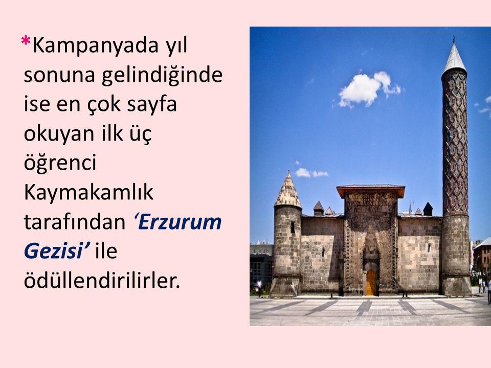 *Kampanyada yıl sonuna gelindiğinde ise en çok sayfa okuyan ilk üç öğrenci Kaymakamlık tarafından 'Erzurum Gezisi' ile ödüllendirilirler.