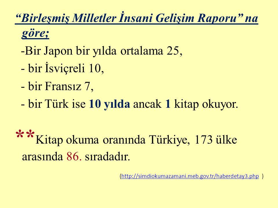 """""""Birleşmiş Milletler İnsani Gelişim Raporu"""" na göre; -Bir Japon bir yılda ortalama 25, - bir İsviçreli 10, - bir Fransız 7, - bir Türk ise 10 yılda an"""