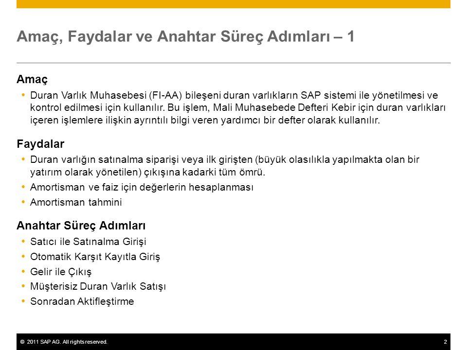 ©2011 SAP AG. All rights reserved.2 Amaç, Faydalar ve Anahtar Süreç Adımları – 1 Amaç  Duran Varlık Muhasebesi (FI-AA) bileşeni duran varlıkların SAP