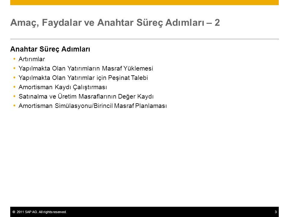 ©2011 SAP AG. All rights reserved.3 Amaç, Faydalar ve Anahtar Süreç Adımları – 2 Anahtar Süreç Adımları  Artırımlar  Yapılmakta Olan Yatırımların Ma