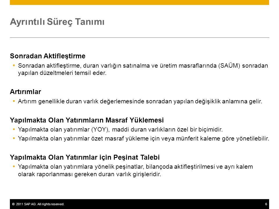 ©2011 SAP AG. All rights reserved.6 Ayrıntılı Süreç Tanımı Sonradan Aktifleştirme  Sonradan aktifleştirme, duran varlığın satınalma ve üretim masrafl